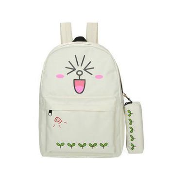kawaii emoji Cute Cartoon Print Backpack Student Canvas Shoulder Bag Bag Girls Travel Bag Laptop Backpack mochila escolar sac