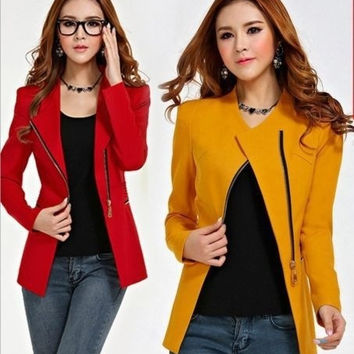 fashion hot women zipper blazers long sleeve Slim small leisure suit jacket female brand women blazers 3color s-xl