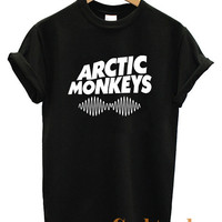 Arctic Monkeys Rock Band Logo Unisex T Shirt Black & White tee Size A-2