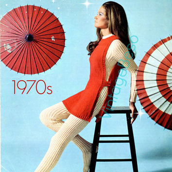 Ladies Cat Suit and Tunic is a Retro 1970s Jumpsuit and Tunic Vintage KNITTING Pattern Patons Promise 6312 - Pdf Pattern - Instant Download