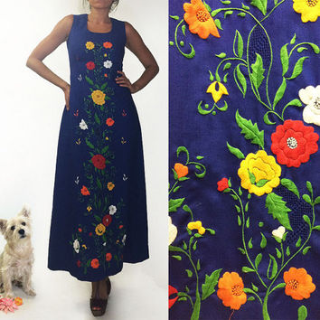 Vintage 1960's 1970's FLORAL Unworn Embroidered Mexican Oaxacan Maxi Dress || Cotton Handmade Hippie Boho Festival Dress Size Small 2 to 4