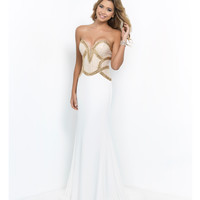 White & Gold Strapless Plunging Sweetheart Beaded Bodice Jersey Dress