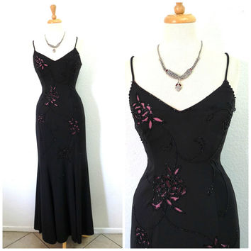 Vintage black dress, beaded maxi cut-out illusion, Spaghetti strap evening gown, Betsy & Adam by Linda Bernell prom formalSmall