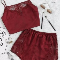 2 Piece Lace Cami Bottom Set