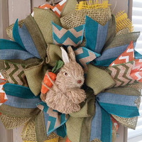 Easter Wreath Easter Bunny Spring Wreath Easter Decor Bunny Wreath Easter Ribbon Wreath Spring Decor Small Easter Rabbit Wreath Decoration