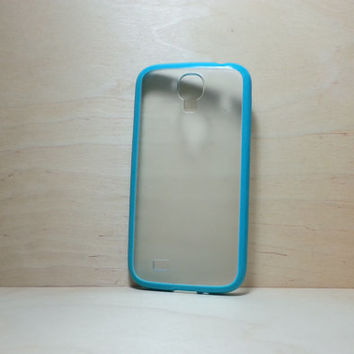 Samsung Galaxy S4 Case Silicone Bumper and Translucent Frosted Hard Plastic Back - Turquoise