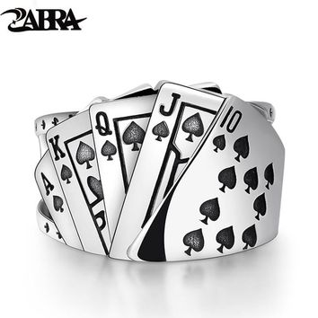 ZABRA Poker Ring Solid 925 Silver Rock Punk Rings For Men Women Black Signet Jewelry Adjustable Size 7 To 10 Can Cutomize Size