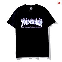 Thrasher New fashion flame letter print couple top t-shirt 3#