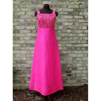 1960s maxi dress, 1960s gown, beaded silk dress, paisley dress, raw silk, formal dress, empire waist, Size S