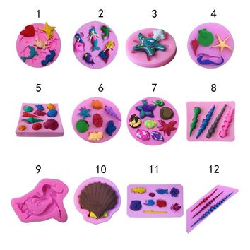 Sea Shell Dolphins hippocampus starfish silicone mold chocolate fondant cake decoration Kitchen soap Tools