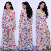 Flower Long Sleeve High-Cut Maxi Dress