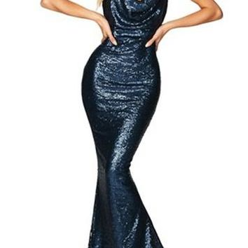 Navy Daring Bare Back Sequined Long Party Gown