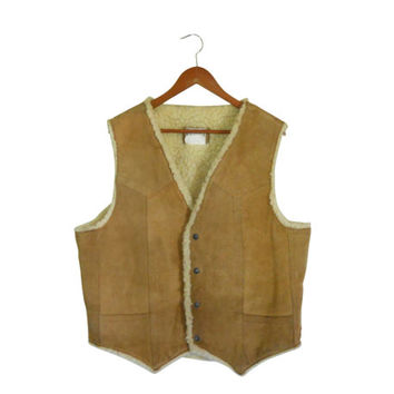 Brown Leather Vest Men Suede Vest Country Western Vest Rustic Vest 70s Vest Winter Vest Retro Vest 70s Men Clothing Western Clothes Vintage