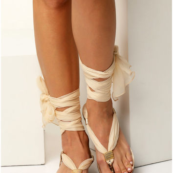 Ivory sandals with interchangeable silk scarf laces, Bridal sandals, Wedding flats. Fully Customizable. Sophia - Free standard shipping