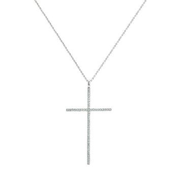 1.8TCW French Pave Russian Lab Diamond Cross Pendant Necklace