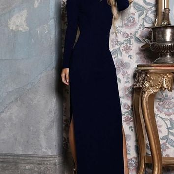 New Black Side Slit Backless Long Sleeve Fashion Maxi Dress
