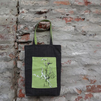 Tote Bag, Canvas Bag,Gray Green Tote Bag Hand Painted, Unique Tote Bag, Cotton Bag, Casual Bag