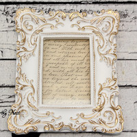 White and Gold Frame // ornate frame // baroque frame // Cottage decor // 4x6 frame // unique frame // bedroom decor // victorian frame