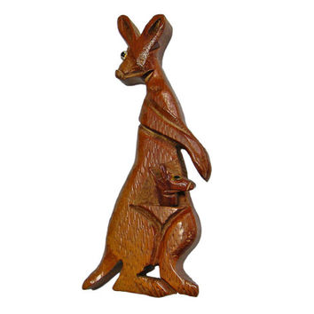 Wood Brooch Kangaroo Mother with Baby Carved Animal Figural Pin 1940s