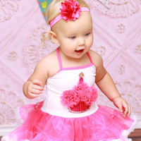 First Birthday Dress- First Birthday Outfits -First Birthday Party Dress -Girls Cupcake Dress- Hot Pink Glitter Cupcake Tutu Dress