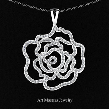 Classic 14K White Gold Diamond Rose Promise Pendant and Necklace Chain P101M-14KWGD