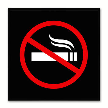 No Smoking Sign Art Black Print on Canvas Picture Frames Wall Home Décor Mancave