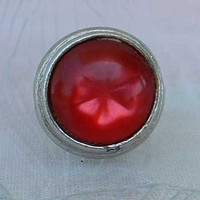 Red Star Moonglow Lucite Cabochon Ring Adjustable Vintage Jewelry