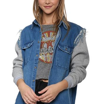 Brooklyn Karma Distress Contrast Denim Jacket