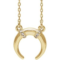 14K Gold .03 CTW Diamond Crescent Necklace - Yellow, Rose or White Gold