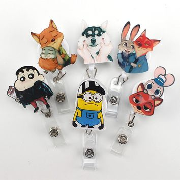 Foreign trade Cute Cartoon fox Retractable Badge Reel high quality Acrylic Exihibiton ID Name Card Badge Holder Office Supplies