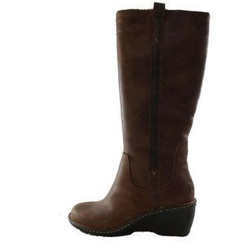 CREY1O Authentic UGG Australia Hartley Tall Women's Brown Leather Shearling Fur Winter Boots