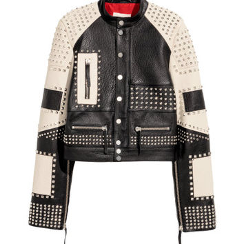 Leather Jacket with Studs - from H&M