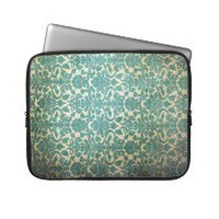 Vintage Teal Green Damask Pattern Background Laptop Sleeves