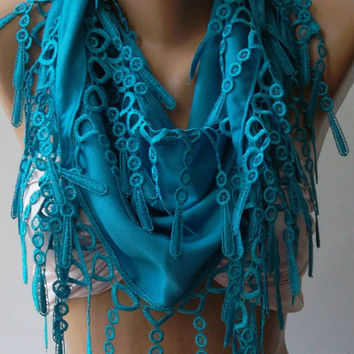Blue -- Pashmina and Elegance Shawl / Scarf with Lace Edge--