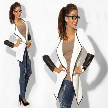 Faux leather  casual cardigan woman jacket