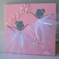 Dancing Ballerinas in Pink  and White. Nursery wall art.