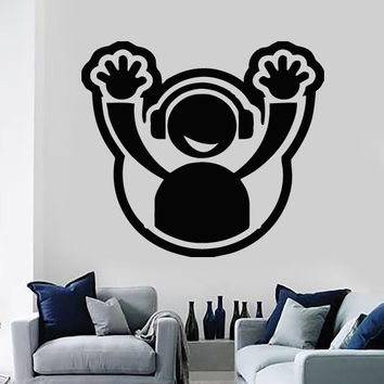 Wall Sticker Vinyl Decal DJ Headphone Plate Hands Up Club Party Decor Unique Gift (n496)