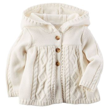 Carter's Cable-Knit Hooded Sweater - Baby Girl, Size: