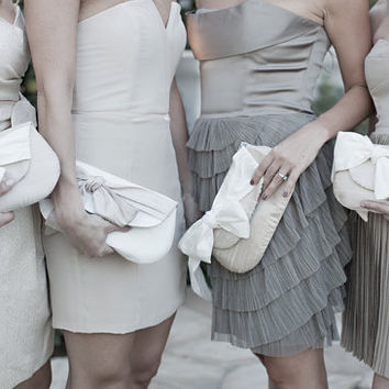 nude bridesmaids gifts, ivory wedding clutch, bridal purse, silk bow
