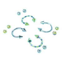 Steel Blue And Green Striped Circular Barbell 4 Pack