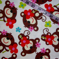 Floral Flannel fabric with monkeys flowers on white cotton quilt quilting sewing material to sew by the yard 1yd crafts kids children