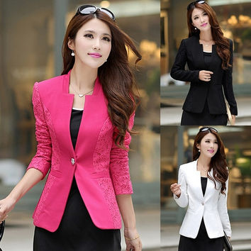 Fashion Women's Coat Lace Splicing Slim Suits Jacket Blazer Tops 3 Colors