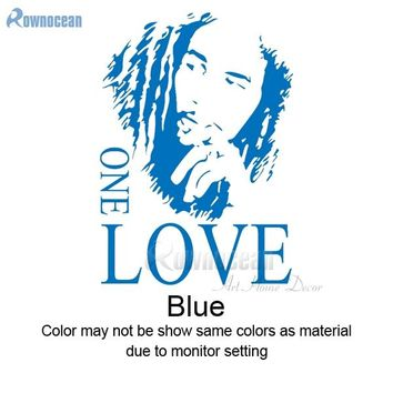ROWNOCEAN Fashion BOB MARLEY One Love Quotes Wall Sticker Music Vinyl Art Home Decor Wallpaper Sofa Background Decoracion D591