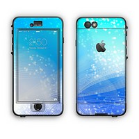 The Abstract Light Blue Scattered Snowflakes Apple iPhone 6 Plus LifeProof Nuud Case Skin Set