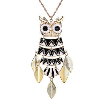 Alloy Owl Leaf Pendant Glazed Sweater Chain