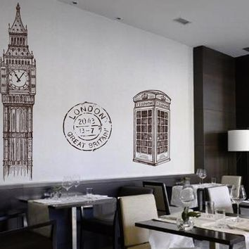 ik2415 Wall Decal Sticker Big Ben London phone booth English style restaurant cafe