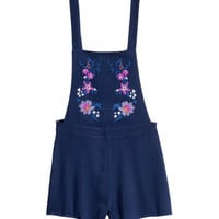 H&M Embroidered Bib Overall Shorts $24.99