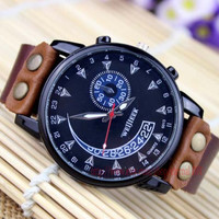 Cool black dial watch, auto speed dial watch, the man's favorite, leather watch