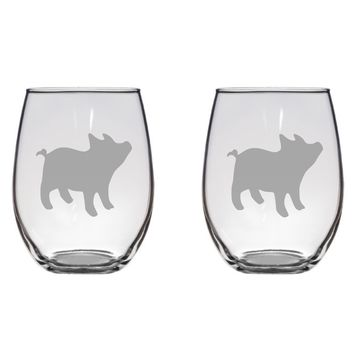 Piglet Engraved Glasses, Pig, Farm Free Personalization