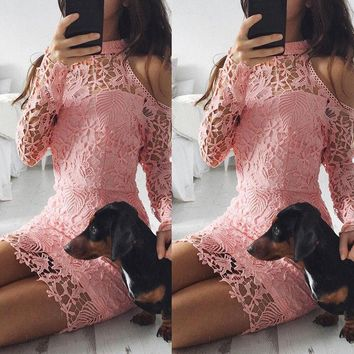 Women Summer Elegant Lace Floral Long Sleeve Party Evening Short Mini Dress Sexy Strapless Halter Sheath Skinny Mini Dresses